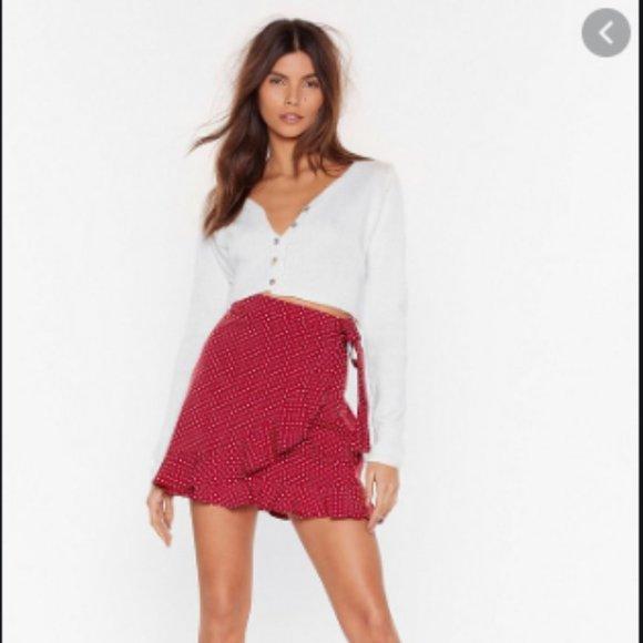 Nasty Gal Dot Your Back Wrap Skirt Polka Dot